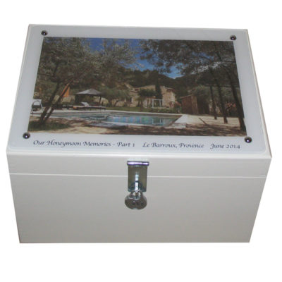 White Wooden XL Wedding Keepsake Box with Photo on Acrylic and lock