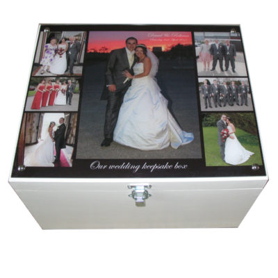 White XL Wedding Keepsake Storage Box with Collage of photographs on Acrylic on the lid