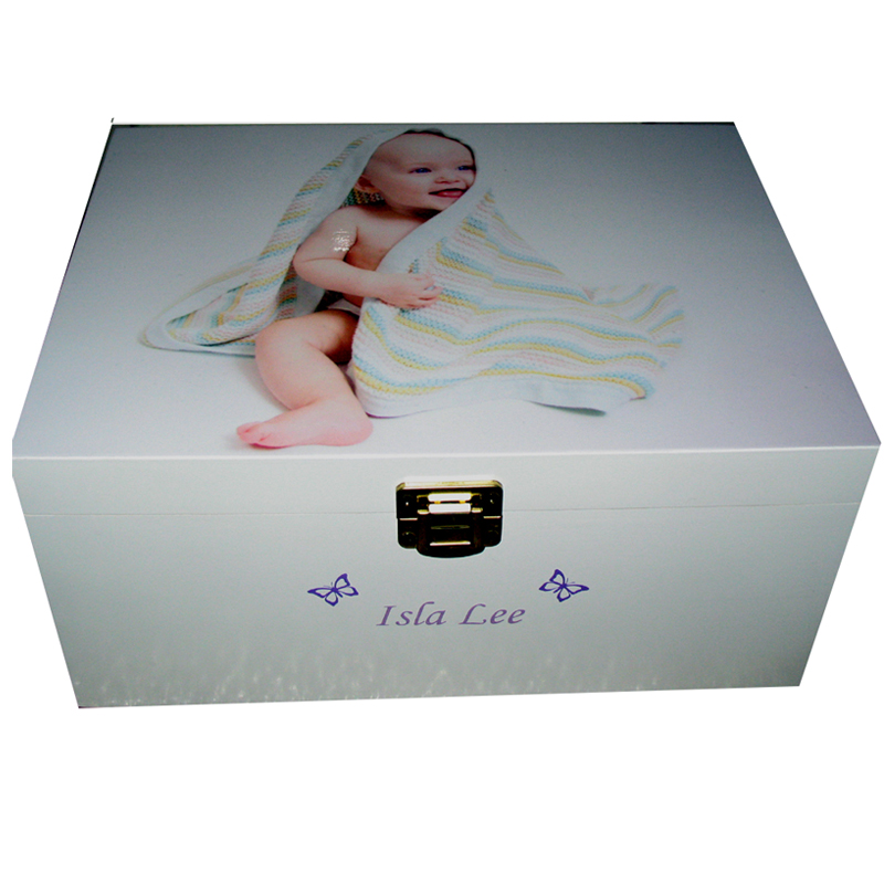 Personalised Baby Keepsake Box with photo on the lid