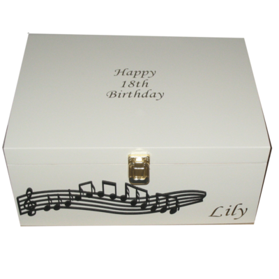 Adullts or Childrens Personalised Keepsake Boxes with musical notes in black