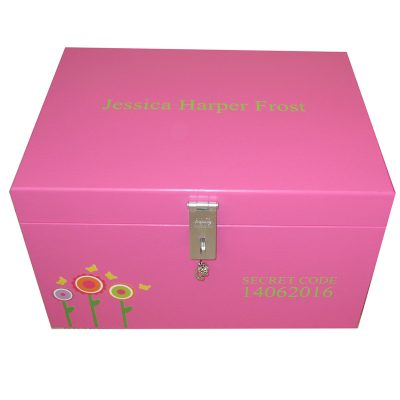 Girls Lockable Personalised XL Keepsake Storage Box with Funky Flowers in Magenta Pink