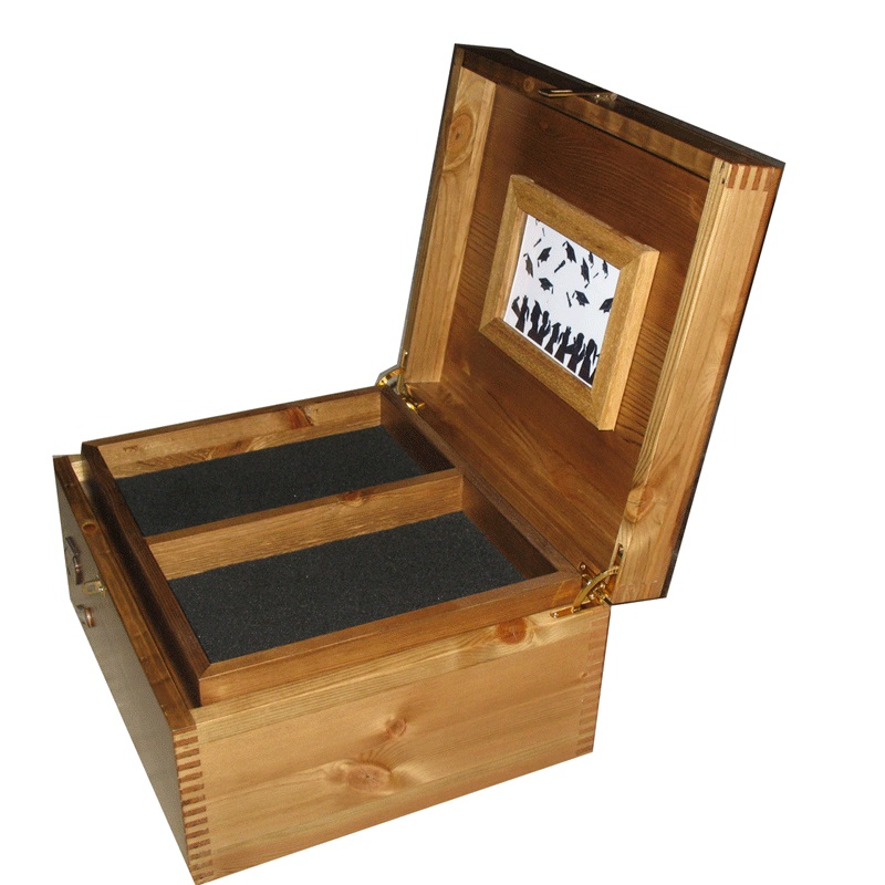 Graduation Keepsake Box with frame and tray open