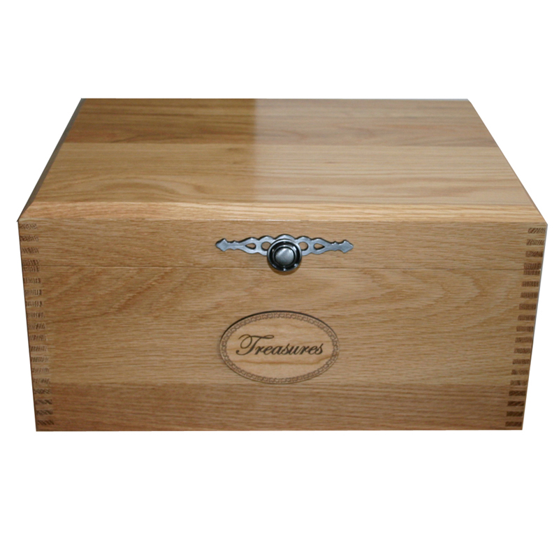 Solid Oak Memory Box with Traditional Knob and Treasures Plaque on front