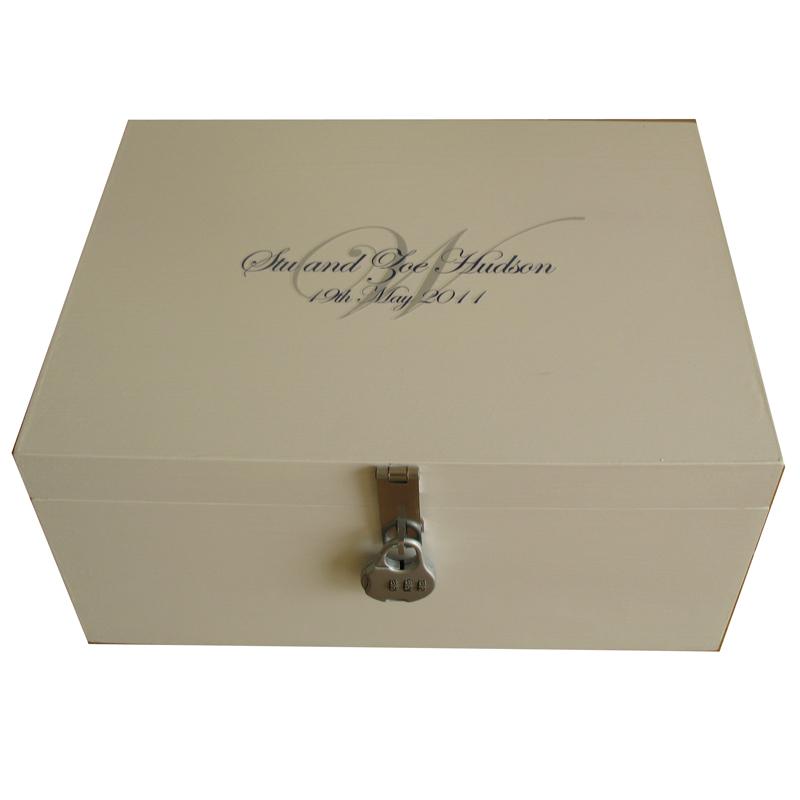 Ivory Wedding Memory Box with Monogram and lock