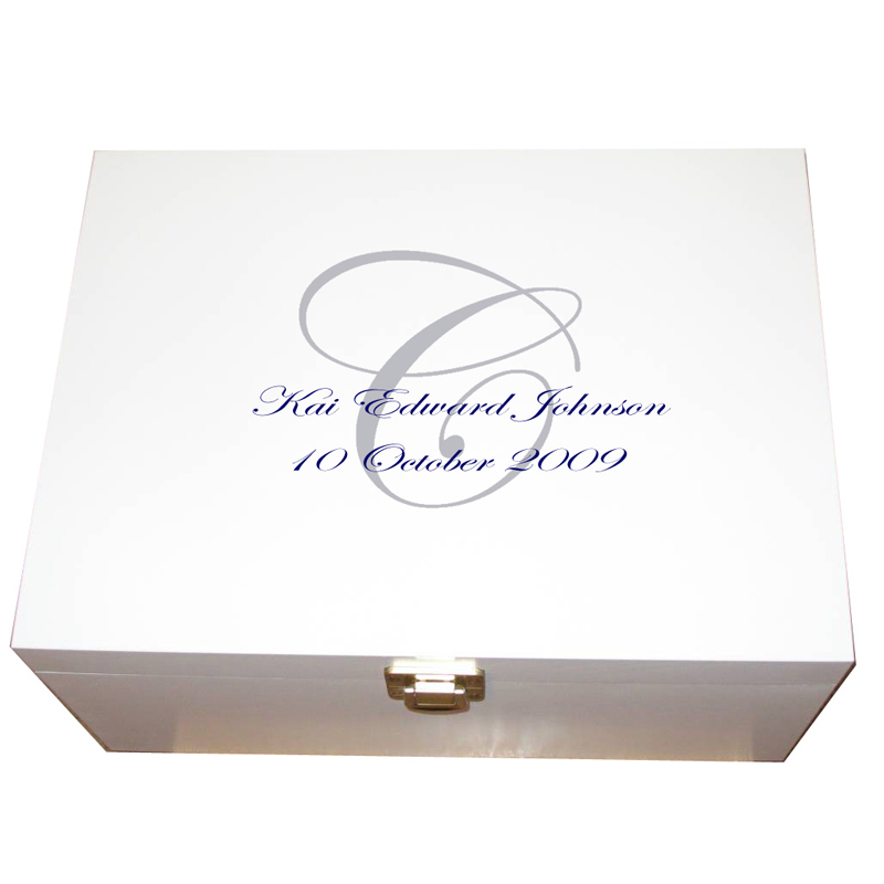 Personalised Christening Box with Monogram