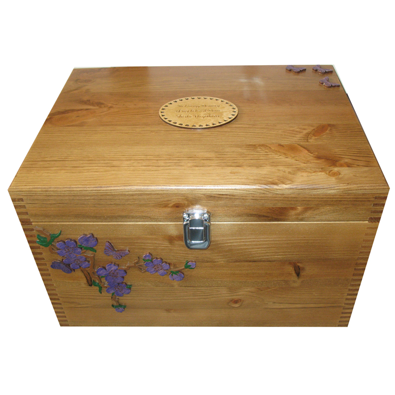 Extra large personalised decorative wooden boxes wash of paint on spray of flowers - Decorative wooden crates ...