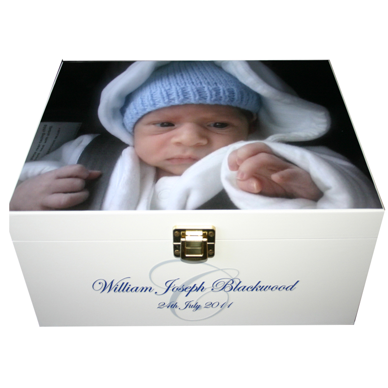 White Wooden Christening Box Photo box with Monogram