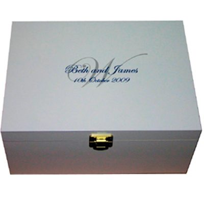 White Personalised Wedding Keepsake Box with Monogram
