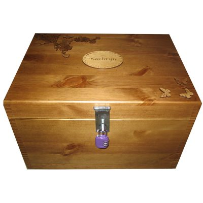 Personalised Natural or Rustic Pine XL Memory Storage Keepsake Box varnished Spray of Flowers