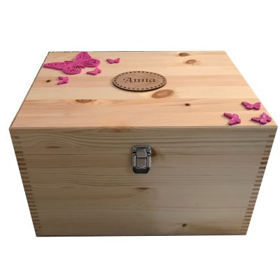 Natural Pine (Lighter Colour) XL Memory or Keepsake Box Personalised Butterflies