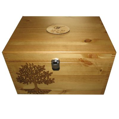 Keepsake or Memory Boxes XL Personalised - Wooden Lacquered Tree of Life Rustic Pine