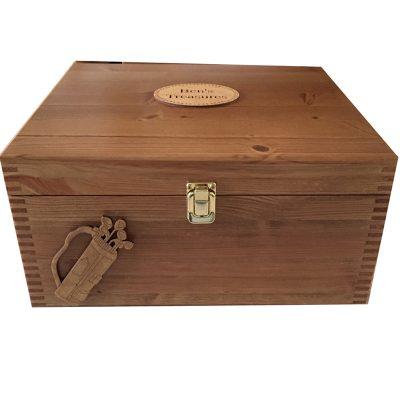 Personalised Wooden Keepsake or Memory Box for Men Golf Lover