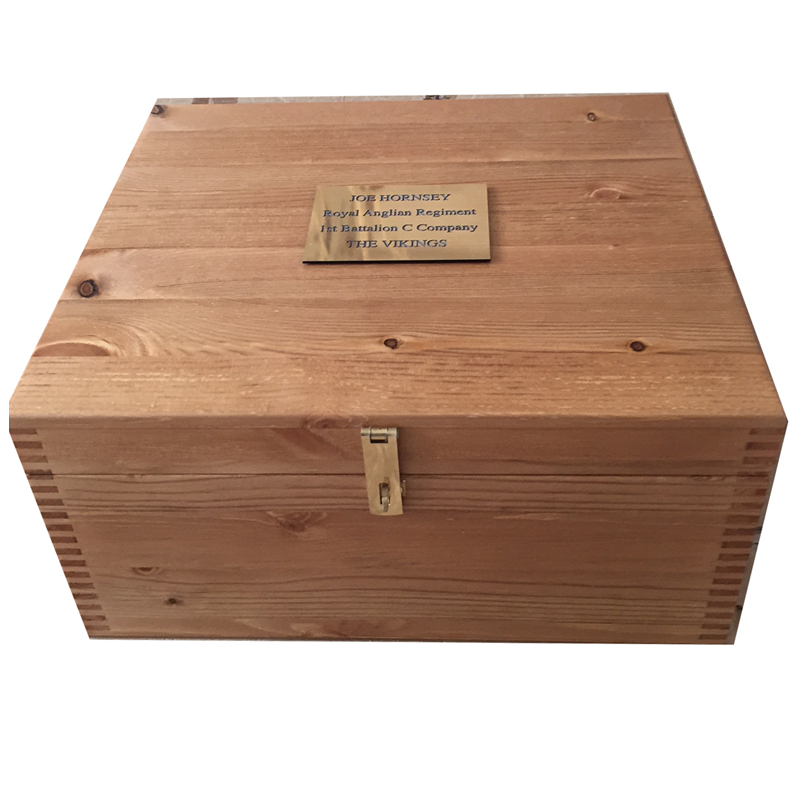 Personalised Large Wooden Memorial Box - Engraved Metal Message Plate