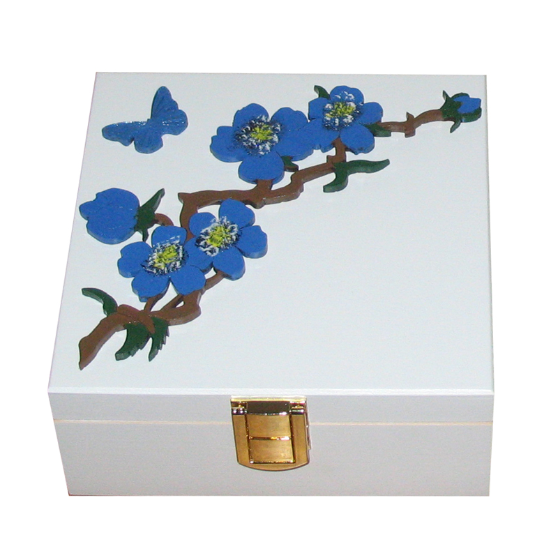 Small White Keepsake Box Royal Blue Flowers gold tone clasp