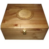 Rustic Pine Large Memory Box with engraved Celtic Plaque personalised on the lid with clasp