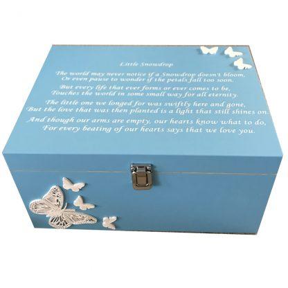 Blue Baby Bereavement Memory Box White Butterflies Little Snowdrop Verse