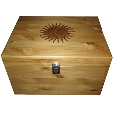 Personalised Rustic Pine XL Keepsake Storage Box with Sun