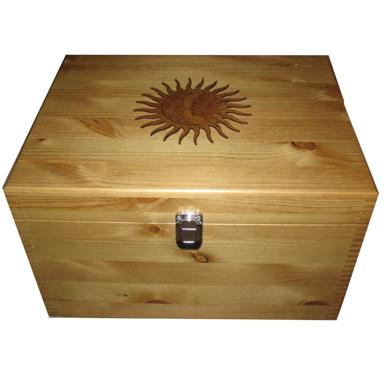 Personalised Rustic Pine XL Keepsake Storage Box with Sun