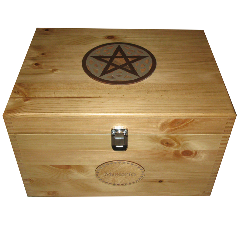 Rustic XL Personalised Solid Wood Celtic Memory Box for Keepsakes - Painted Pentagram