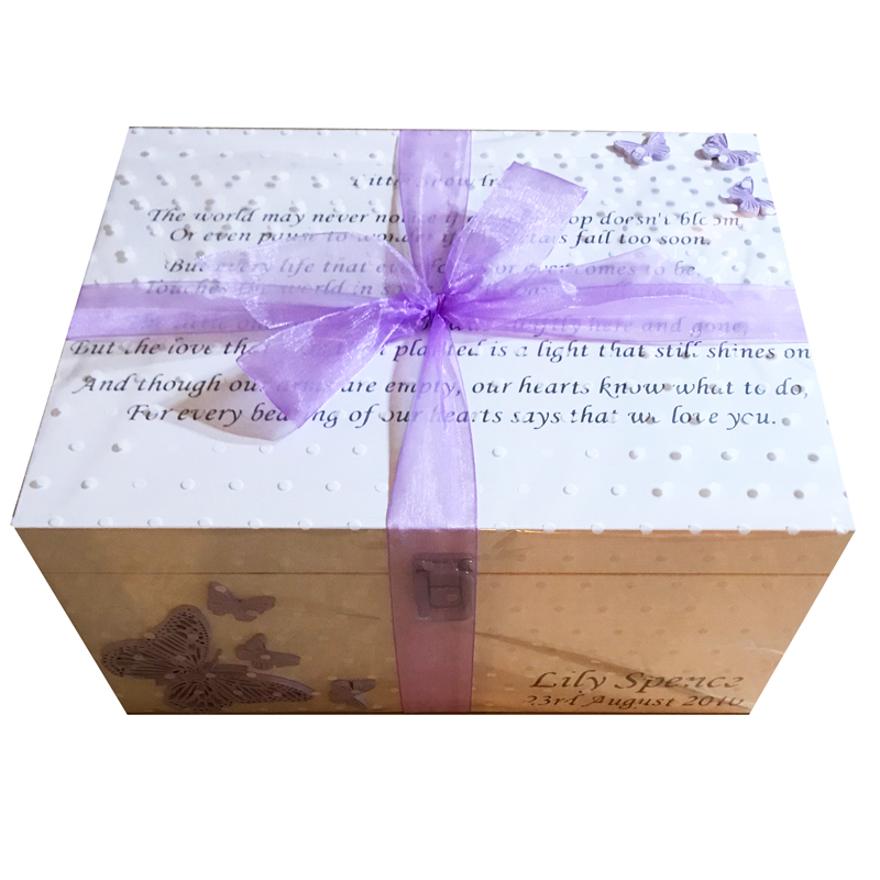 Baby Bereavement Memory Box Lilac Butterflies Little Snowdrop Poem