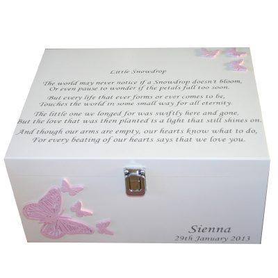 Wooden Bereavement Memorial Memory Box Butterflies - Little Snowdrop