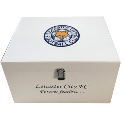 White Football Theme XL Keepsake Boxes