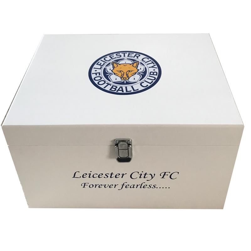 White Football Theme XL Keepsake Boxes