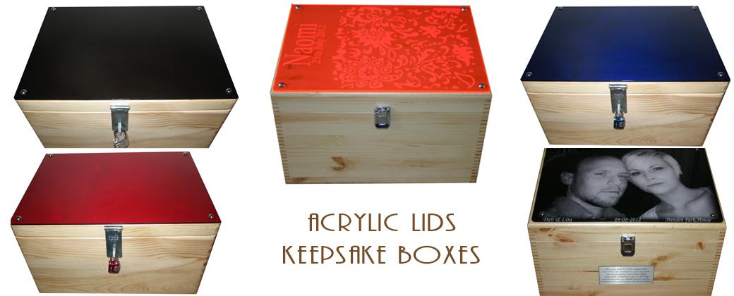 Keepsake Boxes with Acrylic Lid - Personalised