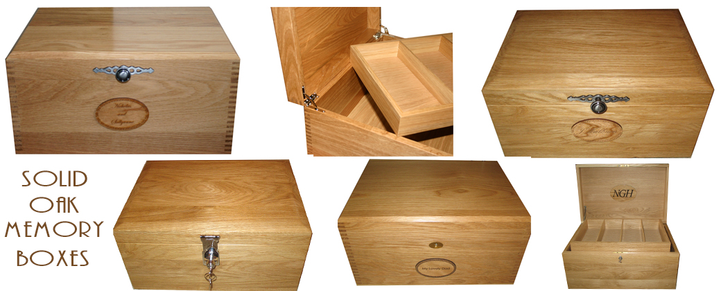Solid Oak Memory Boxes