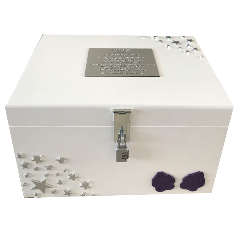White Pet Memorial Memory XL Wood Box Personalised with Swarovski Crystals