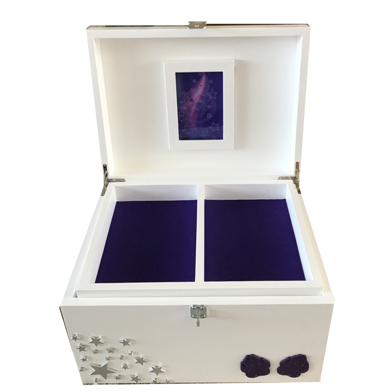 White Pet Memorial Memory XL Wood Box Personalised, Paws, Stars, Swarovski Crystals & Plaque