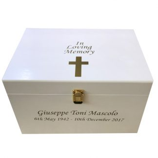 Wooden Bereavement Memory Box Extra Large - Personalised In Loving Memory Gold Cross