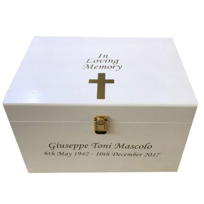 Wooden Bereavement Memory Box Extra Large - Personalised In Loving Memory Gold Cross